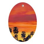 Red Sunset Ornament (Oval)