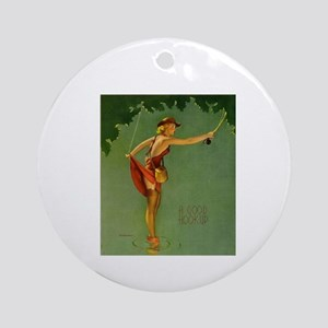 Vintage Fly Fishing Ornament (Round)