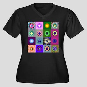 16 Suns Women's Plus Size V-Neck Dark T-Shirt