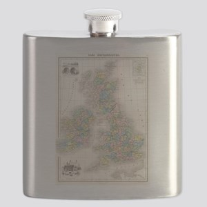 Vintage Map of The British Isles (1878) Flask