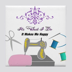 Sewing Makes Me Happy Tile Coaster