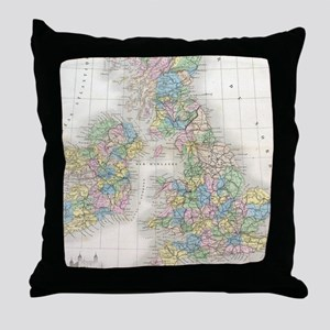 Vintage Map of The British Isles (187 Throw Pillow
