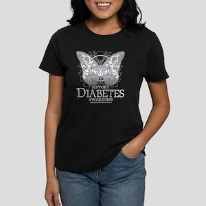 Diabetes Butterfly Women's Dark T-Shirt