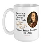 Ben Franklin Self-Love Quote Large Mug