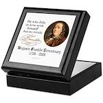 Ben Franklin Self-Love Quote Keepsake Box