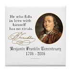 Ben Franklin Self-Love Quote Tile Coaster