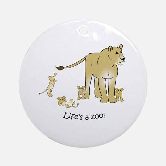 Lioness with Cubs Ornament (Round)