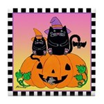 Halloween Witch Cats Pumpkin BatTile Coaster Pk/Yl