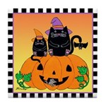 Halloween Witch Cats Pumpkin BatTile Coaster Or/Yl