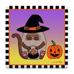Siamese Witch Cat Pumpkin MouseTile Coaster Pl/Yl