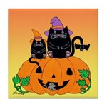 Halloween Witch Cats Pumpkin BatTile Coaster