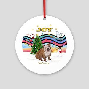 Xmas Music (P)-English Bulldog 2 Ornament (Round)