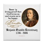 Benjamin Franklin Beer Quote Tile Coaster