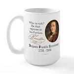 Ben Franklin on Riches Large Mug