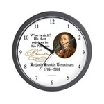 Ben Franklin on Riches Wall Clock