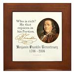Ben Franklin on Riches Framed Tile