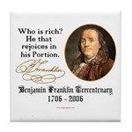 Ben Franklin on Riches Tile Coaster