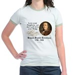 Ben Franklin Love your Neighbor Jr. Ringer T-Shirt
