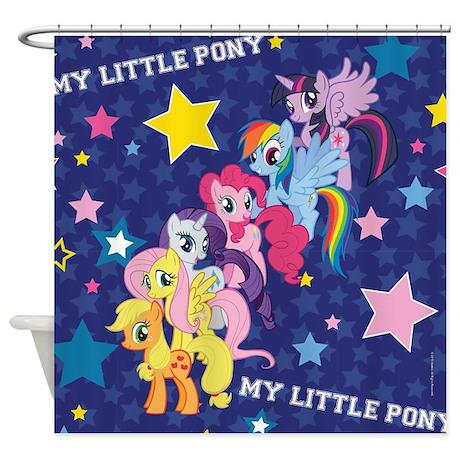 MLP Mane Six Stars Shower Curtain