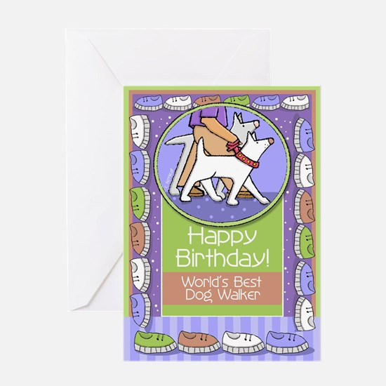 Happy Birthday Dog Walker Greeting Card