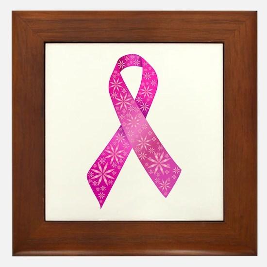 Breast Cancer Ribbon Framed Tile