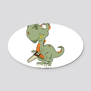 T-Rex Hates Woodworking Oval Car Magnet