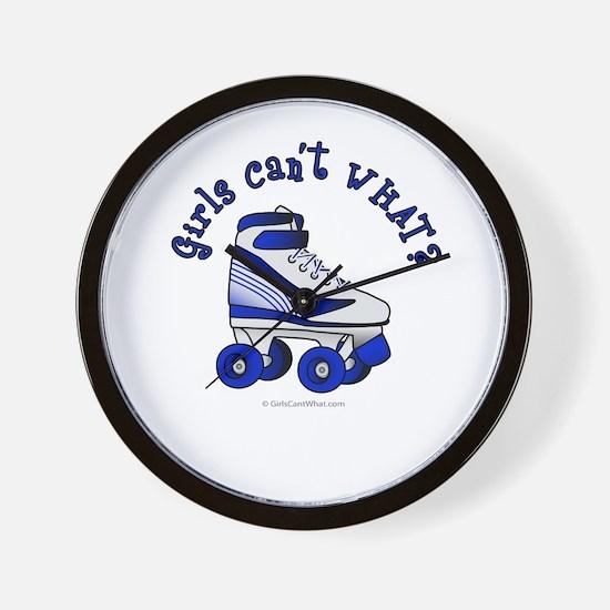 Blue Roller Derby Skate Wall Clock