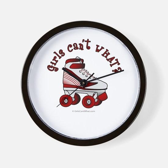 Red Roller Derby Skate Wall Clock