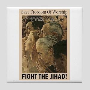 Fight the Jihad Tile Coaster