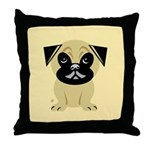 Stylized Pug Throw Pillow