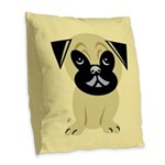 Cartoon Pug Burlap Throw Pillow
