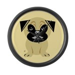 Kids With Pug Large Wall Clock