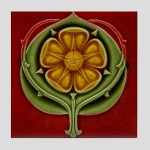 Art Nouveau Floral Rosette Tile Coaster