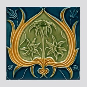 Art Nouveau Framed Flower Tile Coaster