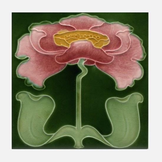 Art Nouveau Pink Peony Tile Coaster