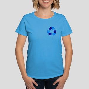Blue Recycling Symbol Women's Dark T-Shirt