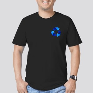 Blue Recycling Symbol Men's Fitted T-Shirt (dark)