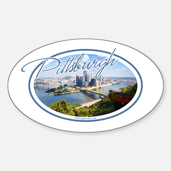 Pittsburgh Postcard Sticker (Oval)