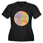 Rainbow Crescents Women's Plus Size V-Neck Dark T-