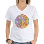 Rainbow Crescents Women's V-Neck T-Shirt