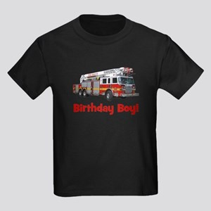 Birthday Boy Fire Truck Kids Dark T-Shirt