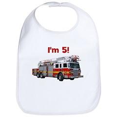 I'm 5! Firetruck Bib