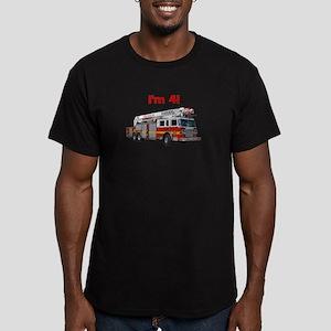 I'm 4! Firetruck Men's Fitted T-Shirt (dark)