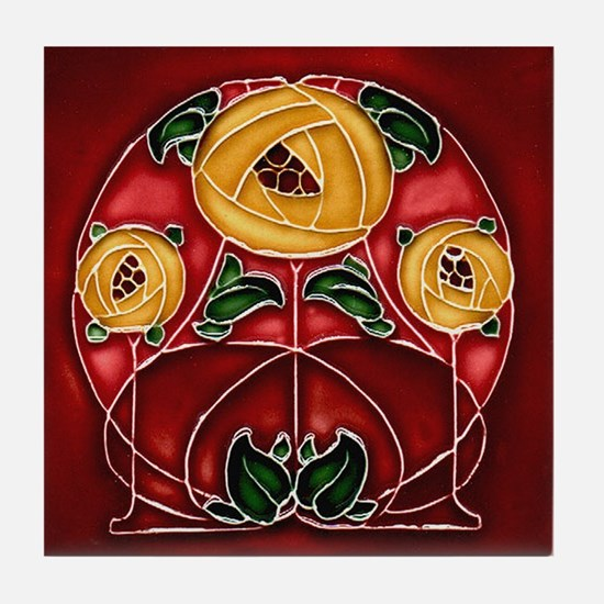 Art Nouveau Yellow Mackintosh Rose Tile Coas
