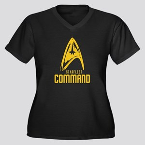 StarFleet Command Women's Plus Size V-Neck Dark T-
