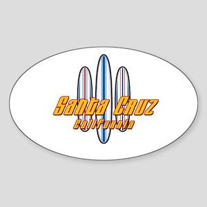 Santa Cruz and Boards Sticker (Oval)