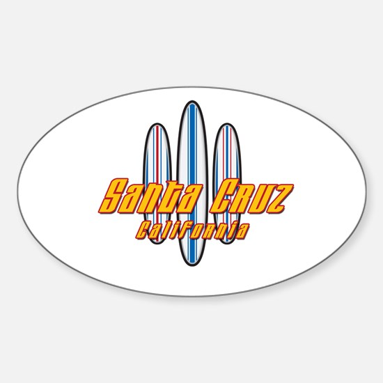 Santa Cruz and Boards Sticker (Oval)