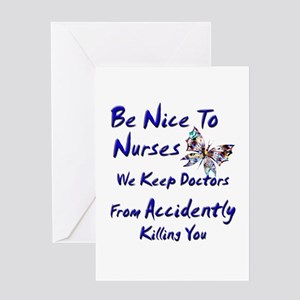 be nice to nurses butterfly copy Greeting Cards