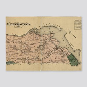Vintage Map of Alexandria County Vi 5'x7'Area Rug