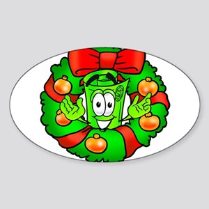 Mr. Deal - Christmas - Wreath Sticker (Oval)